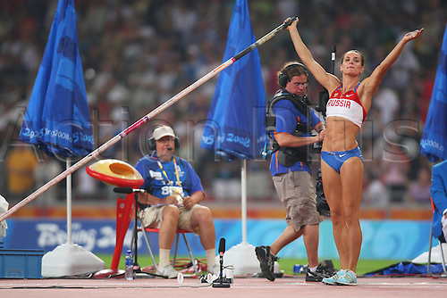 Yelena Isinbayeva (RUS), AUGUST 18, 2008 - Athletics : 2008 Beijing Olympic Games, Athletics, Women's Pole Vault Final at the National Stadium Bird's Nest, Beijing, China. Photo by Daiju Kitamura/Actionplus. UK Licneses Only