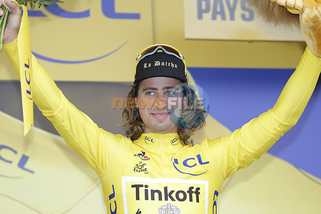 Race leader Peter Sagan (SVK) Tinkoff retains the Yellow Jersey at the end of Stage 3 of the 2016 Tour de France, running 223.5km from Granville to Angers, France . 4th July 2016.<br />