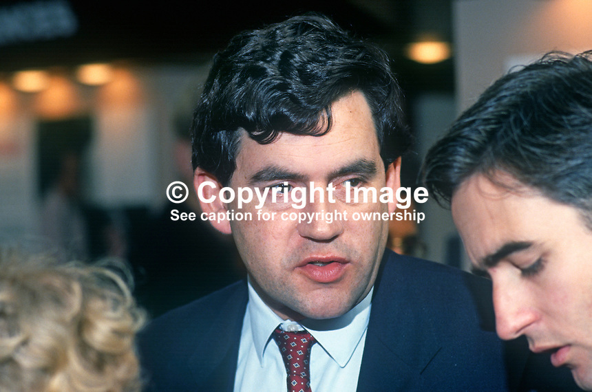 Gordon Brown, MP, Labour Party, Shadow Chancellor of the Exchequer, politician, 19901014GB1..Copyright Image from Victor Patterson, 54 Dorchester Park, Belfast, UK, BT9 6RJ..Tel: +44 28 9066 1296.Mob: +44 7802 353836.Voicemail +44 20 8816 7153.Skype: victorpattersonbelfast.Email: victorpatterson@me.com.Email: victorpatterson@ireland.com (back-up)..IMPORTANT: If you wish to use this image or any other of my images please go to www.victorpatterson.com and click on the Terms & Conditions. Then contact me by email or phone with the reference number(s) of the image(s) concerned.