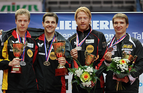 19.09.2010  Table Tennis ETTU European Championship Ostrava The Czech Republic. Award Ceremony Picture shows Patrick Tree Timo Boll Christian Suess (Germany) and Werner Schlager (Austria)  Medal Ceremony Cup