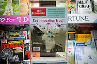A copy of the The Economist on a newsstand in New York on Thursday, August 13, 2015. Pearson Plc has agreed to sell its 50 percent ownership for $731 million to the Agnelli family in Italy and to The Economist Group. Exor, the Agnelli holding company, would become the largest shareholder with 43.4 percent of the stock. (© Richard B. Levine)