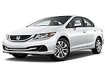 Low aggressive front three quarter view of a .  2013 Honda Civic Sedan EX Sedan