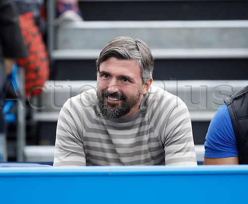 18.06.2016. Queens Club, London, England. Aegon Queens Tennis Championships Day Six. Former Wimbledon winner Goran  Ivaniševic coaching Marin Cilic (CRO) in his semi final match against reigning champion Andy Murray (GBR). Raonic won in straight sets 6-4, 6-4 and meets Andy Murray (GBR) in tomorrow's final.