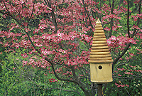Birdhouse with pink dogwood