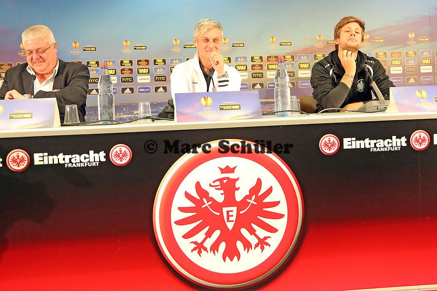 Marco Russ und Trainer Armin Veh (Eintracht) - Eintracht Frankfurt Europa League Pressekonferenz
