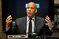 """United States Senator Cory Booker (Democrat of New Jersey) questions former US Deputy Attorney General Rod Rosenstein during a US Senate Judiciary Committee hearing to discuss the FBI's """"Crossfire Hurricane"""" investigation on Wednesday, June 3, 2020.<br /> Credit: Greg Nash / Pool via CNP/AdMedia"""