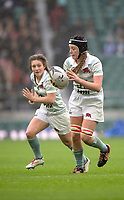 Twickenham, Surrey. UK. Cambridges, Emily PRATT, with the ball, during the 2017 Women's Varsity Rugby Match, Oxford vs Cambridge Universities. RFU Stadium, Twickenham. Surrey, England.<br />