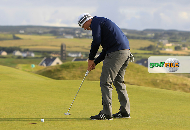 Colm Campbell Jnr (Warrenpoint) on the 1st green during Round 2 of the South of Ireland Amateur Open Championship at LaHinch Golf Club on Thursday 23rd July 2015.<br /> Picture:  Golffile   Thos Caffrey