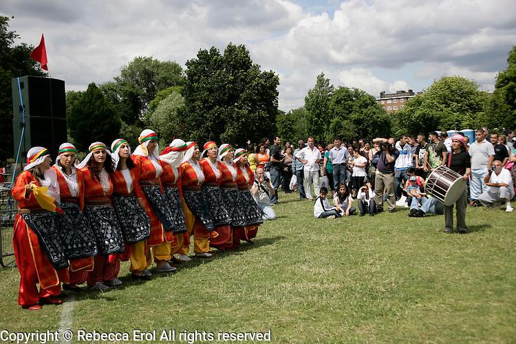 Turkish folkdancing at the Day-Mer Festival 2009 at Clissold Park, Hackney, London, UK