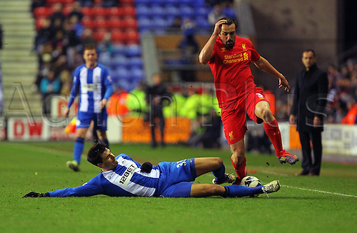 02.03.2013 Wigan, England. José Enrique of Liverpool in action during the Premier League game between Wigan Athletic and Liverpool at the DW Stadium.