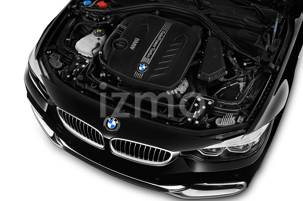 Car stock 2019 BMW 4 Series 430i Coupe 2 Door Coupe engine high angle detail view