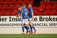 29th December 2019; McDairmid Park, Perth, Perth and Kinross, Scotland; Scottish Premiership Football, St Johnstone versus Ross County; Callum Hendry of St Johnstone is congratulated after scoring for 1-1 by Alistair McCann and Matthew Kennedy  - Editorial Use