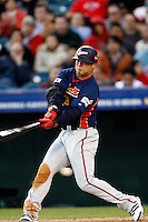 Nobuhiko Matsunaka of Japan during World Baseball Championship at Angel Stadium in Anaheim,California on March 14, 2006. Photo by Larry Goren/Four Seam Images