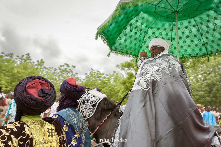 HRH Alh. Samaila Muhammed Mera (CON)greeting his people after prayer.