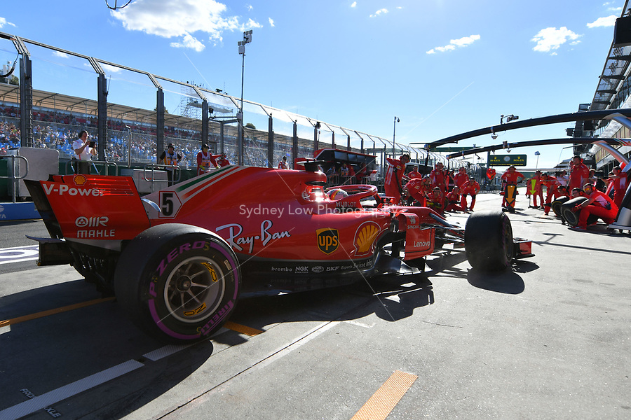 March 23, 2018: Sebastian Vettel (DEU) #5 from the Scuderia Ferrari team enters his pit area during practice session two at the 2018 Australian Formula One Grand Prix at Albert Park, Melbourne, Australia. Photo Sydney Low
