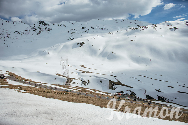 descending the Passo dello Stelvio (alt: 2758m)<br /> <br /> Stage 16: Rovett › Bormio (222km)<br /> 100th Giro d'Italia 2017