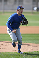 Jin-Young Kim of the Chicago Cubs works out at the Chicago Cubs spring training facility at Fitch Park on March 6, 2011 in Mesa, Arizona. .Photo by:  Bill Mitchell/Four Seam Images.