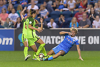 Bridgeview, IL - Wednesday August 16, 2017: Lauren Barnes, Alyssa Mautz during a regular season National Women's Soccer League (NWSL) match between the Chicago Red Stars and the Seattle Reign FC at Toyota Park.
