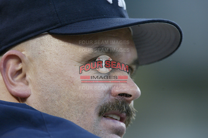 David Wells of the New York Yankees watches a 2002 MLB season game against the Los Angeles Angels at Angel Stadium, in Anaheim, California. (Larry Goren/Four Seam Images)