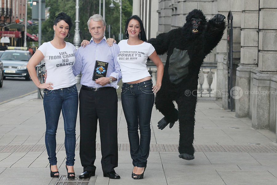 "NO REPRO FEE. 15/9/2010. John J. May launches his controversial book ""The Origin of Specious Nonsense"" outside the Dail in Dublin.  Also pictured are a gorrila, Joan Fitzgerald and Janine Clancy. The launch will then commences at 7pm in Buswells hotel where he delivers his talk: ""How evolution made monkeys out of man"" Picture James Horan/Collins Photos"