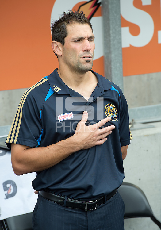 15 September 2012: Philadelphia Union coach/technical director Rob Vartughian during the national anthems in an MLS game between the Philadelphia Union and Toronto FC at BMO Field in Toronto, Ontario..The game ended in a 1-1 draw..