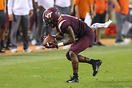 Blacksburg, VA - October 6, 2018: Virginia Tech Hokies wide receiver Sean Savoy (15) catches a pass during the game between Notre Dame and VA Tech at  Lane Stadium in Blacksburg, VA.   (Photo by Elliott Brown/Media Images International)
