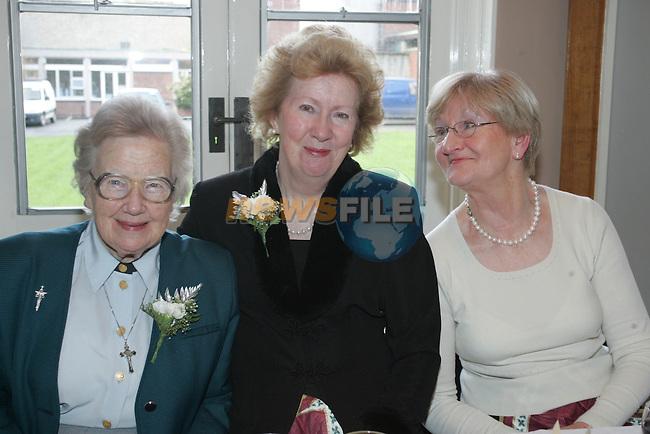 Sr EIleen, Kathleen Henry and Marie Drew at the retired members christmas party..Photo: Fran Caffrey/ Newsfile.<br />