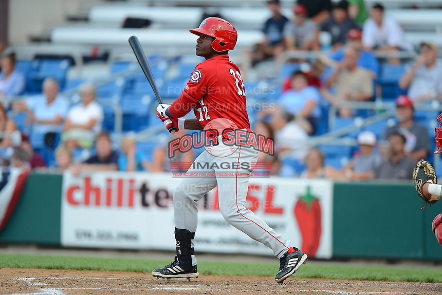 Auburn Doubledays outfielder Brenton Allen #12 during a game against the Williamsport Crosscutters on July 8, 2013 at Bowman Field in Williamsport, Pennsylvania.  Auburn defeated Williamsport 5-1.  (Mike Janes/Four Seam Images)