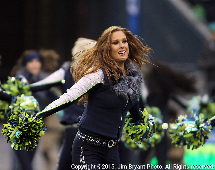 Seattle Seahawks dance team, the Seagals, perform during their game against the Pittsburgh Steelers at CenturyLink Field in Seattle, Washington on November 29, 2015.  The Seahawks beat the Steelers 39-30.      ©2015. Jim Bryant Photo. All Rights Reserved.