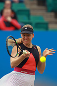 June 12th 2017,  Nottingham, England; WTA Aegon Nottingham Open Tennis Tournament day3; 7th Seed Mona Barthel of Germany hits a forehand in her defeat to Jana Fett of Croatia