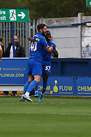 Paul Osew (R) of AFC Wimbledon celebrates his goal in the first half making it 2-0 during AFC Wimbledon vs Rochdale, Sky Bet EFL League 1 Football at the Cherry Red Records Stadium on 5th October 2019