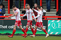 Dean Bowditch of Stevenage scores the first goal for his team and celebrates with his team mates during Stevenage vs Crewe Alexandra, Sky Bet EFL League 2 Football at the Lamex Stadium on 10th March 2018