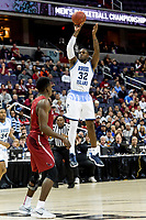 Washington, DC - MAR 10, 2018: Rhode Island Rams guard Jared Terrell (32) attempts a jump shot during the semi final match up of the Atlantic 10 men's basketball championship between Saint Joseph's and Rhode Island at the Capital One Arena in Washington, DC. (Photo by Phil Peters/Media Images International)