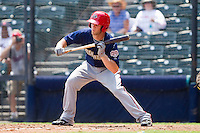 Bryce Harper #34 of the Harrisburg Senators squares to bunt against the Richmond Flying Squirrels at The Diamond on July 22, 2011 in Richmond, Virginia.  The Squirrels defeated the Senators 5-1.   (Brian Westerholt / Four Seam Images)