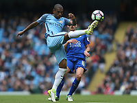 Manchester City's Fernandinho clears under pressure from Leicester City's Marc Albrighton<br /> <br /> Photographer Stephen White/CameraSport<br /> <br /> The Premier League - Manchester City v Leicester City - Saturday 13th May 2017 - Etihad Stadium - Manchester<br /> <br /> World Copyright &copy; 2017 CameraSport. All rights reserved. 43 Linden Ave. Countesthorpe. Leicester. England. LE8 5PG - Tel: +44 (0) 116 277 4147 - admin@camerasport.com - www.camerasport.com