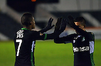 TUNJA- COLOMBIA 01 -11-2015: Los jugador de Deportivo Cali, celebran el gol anotado a Boyaca Chico FC durante partido entre Boyaca Chico FC y Deportivo Cali de la fecha 18 de la Liga Aguila II-2015, jugado en el estadio La Independencia de la ciudad de Tunja. / The players of Deportivo Cali, celebrate a scored goal to Boyaca Chico FC during a match between Boyaca Chico FC Deportivo Cali for the 18 date of the Liga Aguila II-2015 at the La Independencia stadium in Tunja city. Photo: VizzorImage  / Cesar Melgarejo / Cont.
