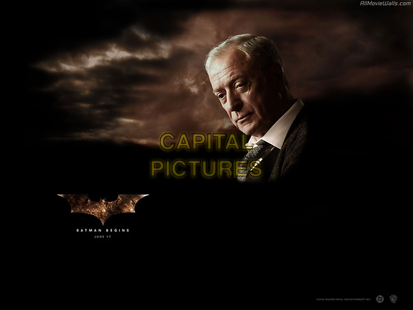 Batman Begins (2005)<br /> Wallpaper with Michael Caine<br /> *Filmstill - Editorial Use Only*<br /> CAP/KFS<br /> Image supplied by Capital Pictures