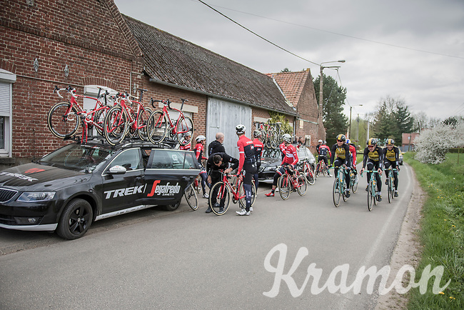 Team Trek-Segafredo see Team LottoNL-Jumbo passing by during a 2017 Paris-Roubaix recon  break, 3 days prior to the event.