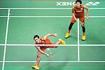 Takeshi Kamura and Keigo Sonoda of Japan compete against Mathias Boe and Carsten Mogensen of Denmark during their Men's Doubles Final of YONEX-SUNRISE Hong Kong Open Badminton Championships 2016 at the Hong Kong Coliseum on 27 November 2016 in Hong Kong, China. Photo by Marcio Rodrigo Machado / Power Sport Images
