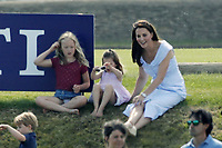 Polo at Badminton<br /> Catherine Duchess of Cambridge and Princess Charlotte  <br /> at The Beaufort Polo Club, Tilbury, Gloucestershire, England on June 10, 2018.<br /> CAP/GOL<br /> &copy;GOL/Capital Pictures