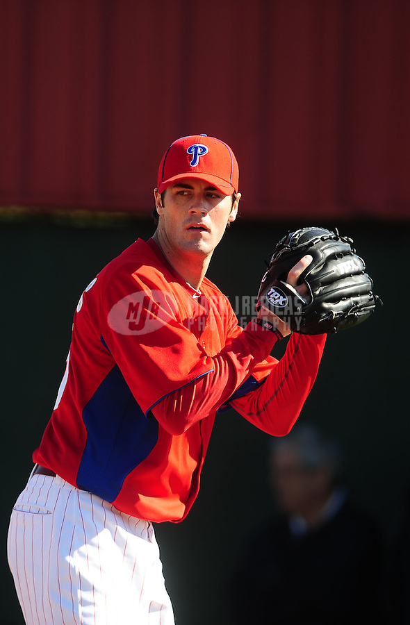 February 14, 2011; Clearwater, FL, USA; Philadelphia Phillies pitcher Cole Hamels throws during spring training at Bright House Networks Field. Mandatory Credit: Mark J. Rebilas-