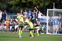 Kansas City, MO - Saturday June 25, 2016:  Keelin Winters, Jessica Fishlock, Shea Groom during a regular season National Women's Soccer League (NWSL) match at Swope Soccer Village.