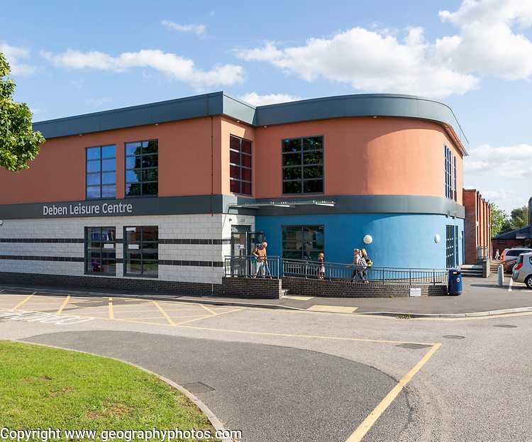 Deben leisure centre modern building Woodbridge, Suffolk, England, UK opened in June 2018