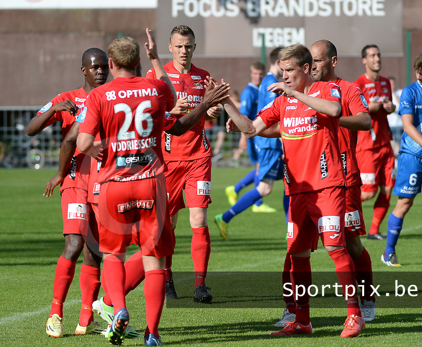 20150627 - INGELMUNSTER , BELGIUM : Oostende's pictured celebrating one of their goals during a friendly match between Belgian first division team KV Oostende and Belgian fourth division soccer team OMS Ingelmunster , during the preparations for the 2015-2016 season, Saturday 27th June 2015 in Ingelmunster. PHOTO DAVID CATRY