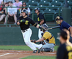 SIOUX FALLS, SD - JUNE 19 Kevin Dultz #21 from the Sioux Falls Canaries rips a double against the Amarillo Sox in the third inning Thursday night at the Sioux Falls Stadium. (Photo by Dave Eggen/Inertia)
