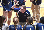 Althoff head coach Tony Miner speaks to his team during a timeout. Althoff lost to Minooka in the championship game of the O'Fallon Class 4A volleyball sectional at O'Fallon HS in O'Fallon, IL on November 6, 2019.<br /> Tim Vizer/Special to STLhighschoolsports.com