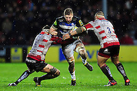 Dominic Day of Bath Rugby takes on the Gloucester defence. Aviva Premiership match, between Gloucester Rugby and Bath Rugby on March 26, 2016 at Kingsholm Stadium in Gloucester, England. Photo by: Patrick Khachfe / Onside Images