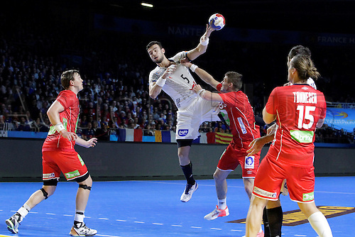 January 15th 2017, Parc Exposition XXL, Nantes, France; 25th World Handball Championships France versus Norway: Nedim Remilii France in shooting action