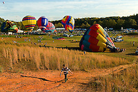 Hot air balloons fill during the annual Carolina BalloonFest, held each fall in Statesville, NC. Photos were taken at the October 2008 event.