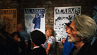 Pictured: A talk about Alarm magazine in a gallery. Saturday 15 July 2017<br />Re: The Troublemakers Festival, on the High Street, Swansea, south Wales, UK.